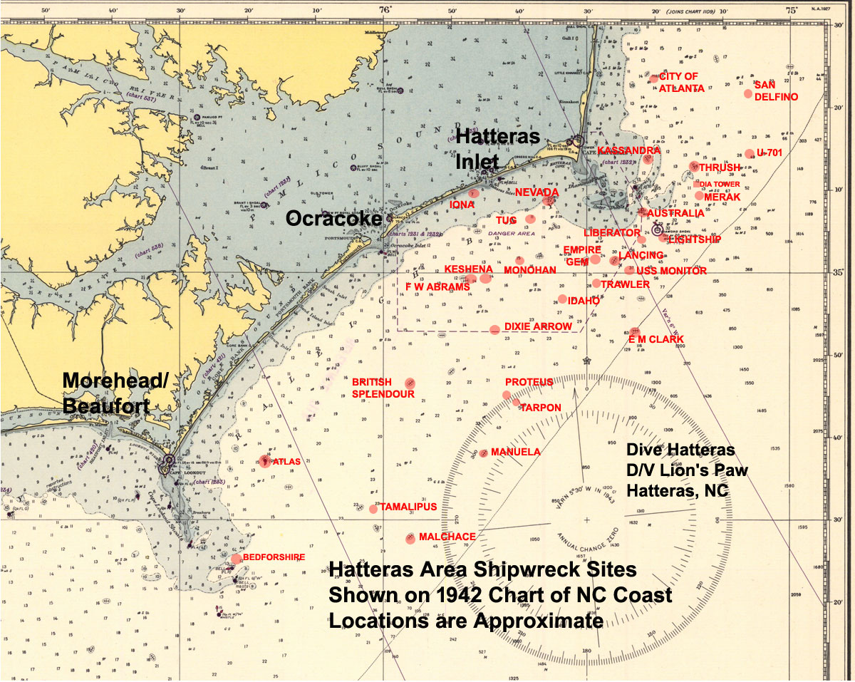 1942 Chart of Hatteras and the appx locations of Shipwrecks