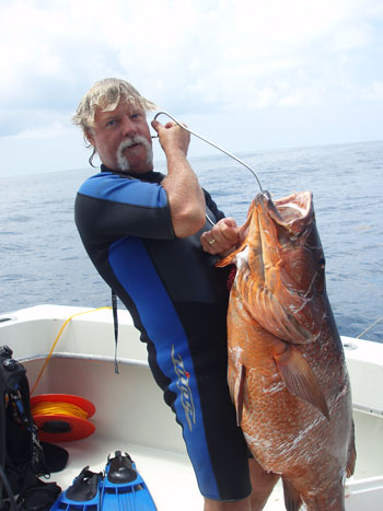 Medium sized Cubera Snapper was taken by Capt Rich while on SCUBA. - Dive Hatteras photo