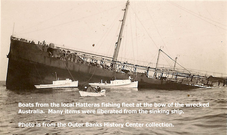 Photo of local fishing boats at the Australia wreck after the attack.  Photo from the Outer Banks History Center.