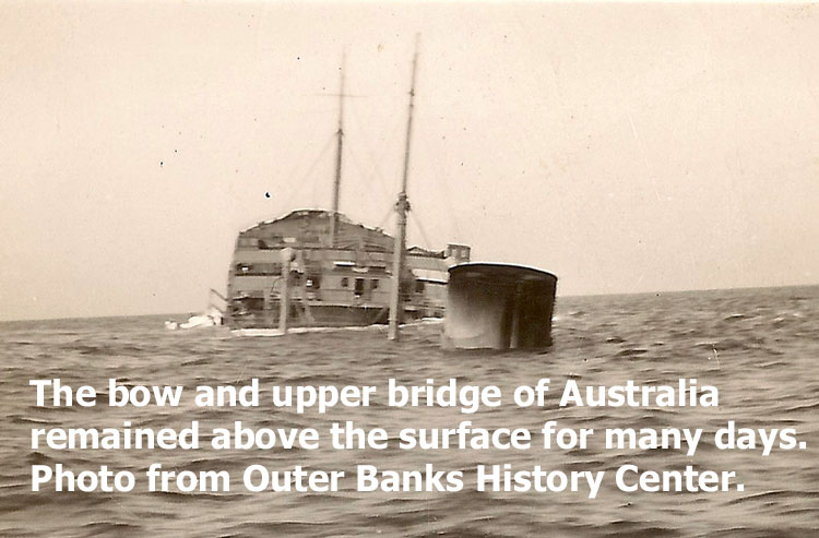 Photo of Australia after attack with upper bridge and bow exposed.  Photo is from the Outer Banks History Center.