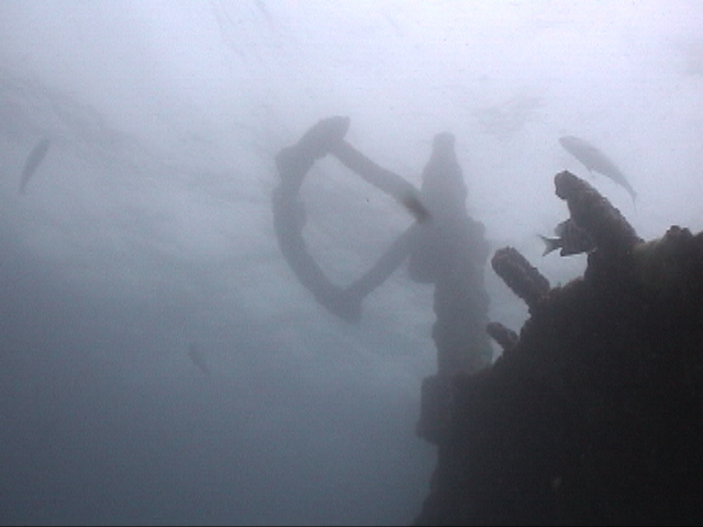 Steering Quadrant of the SS Hesperides rises to within 6 feet of the surface.  DiveHatteras Photo