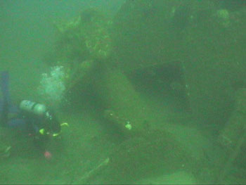 Diver seeks artifacts on the Liberator, note the large anchor directly above and behind the diver. (DiveHatteras photo)