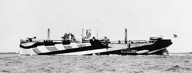 USS Liberator in Dazzle paint scheme.  Photo from US Naval Historical Center
