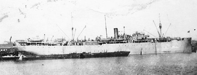 USS Liberator in St Nazaire, France, as a troopship 1919.  US Naval Historical Center photo.