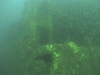 Amidships section of Liberator rises almost 30' from the bottom. (DiveHatteras photo)