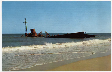 LST 471 on the beach: Photo from a period post card, Unk artist.